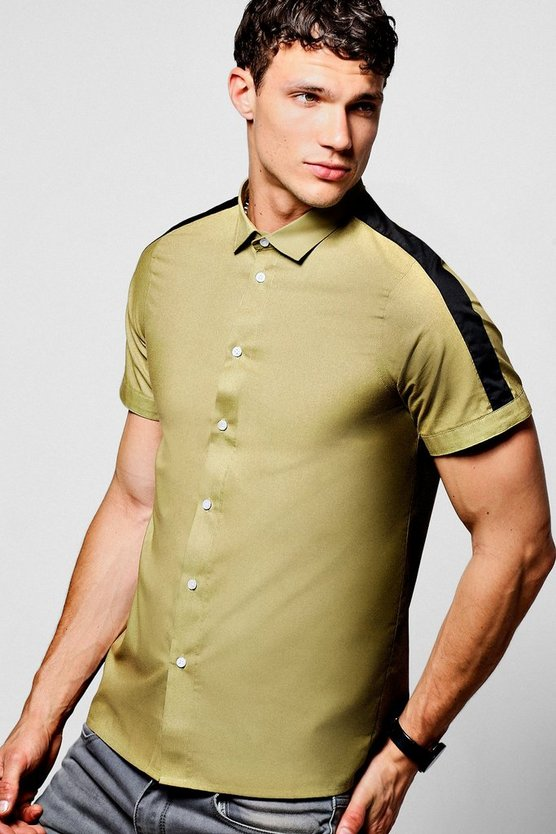 Contrast Sleeve Stripe Short Sleeve Shirt