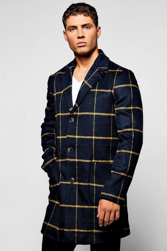 Navy Wool Mix Check Overcoat