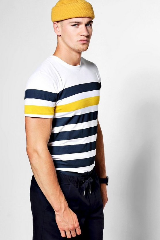 Horizontal Stripe Crew Neck T-Shirt
