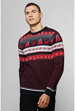 Burgundy Fairisle Christmas Jumper, Uomo