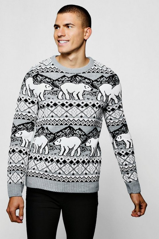 Christmas Polar Bear Fairisle Jumper In Grey, Grey, Uomo