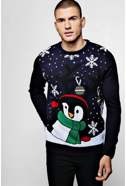 Mens Novelty Penguin Christmas Sweater In Navy