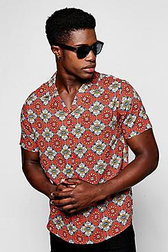 1960s – 1970s Mens Shirts- Dress, Mod, T-Shirt, Turtleneck Red Tile Print Short Sleeve Shirt $36.00 AT vintagedancer.com