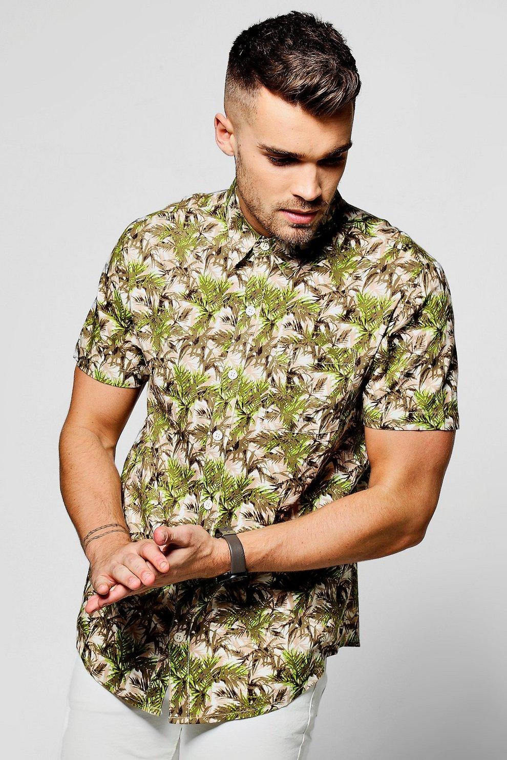 43d28f71 Green Leaf Print Short Sleeve Shirt | Boohoo