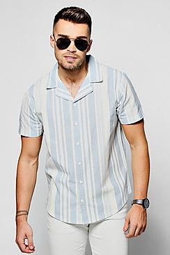 1950s Style Mens Shirts Verticle Stripe Short Sleeve Shirt $36.00 AT vintagedancer.com