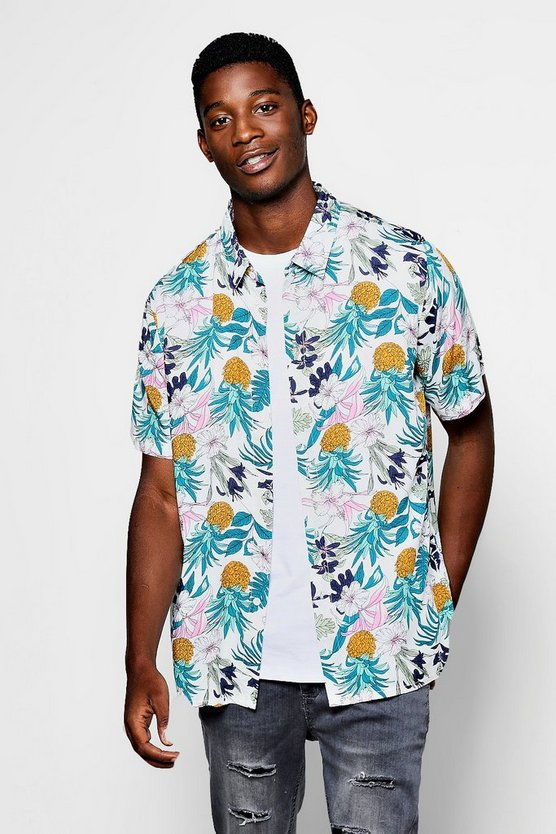 White Pineapple Floral Print Short Sleeve Shirt
