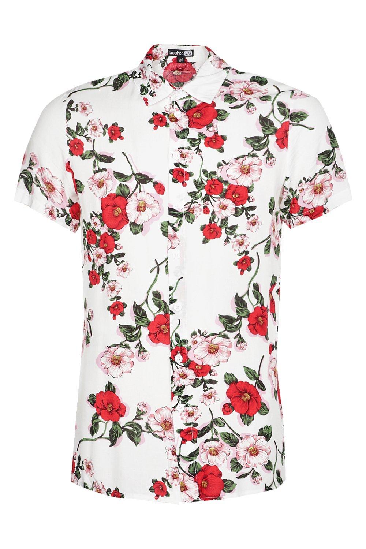 Boohoo mens red floral printed short sleeve shirt ebay for Mens white floral shirt