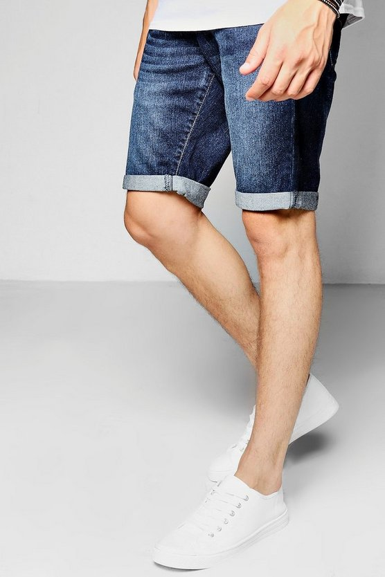 Skinny Fit Indigo Denim Shorts in Mid Length