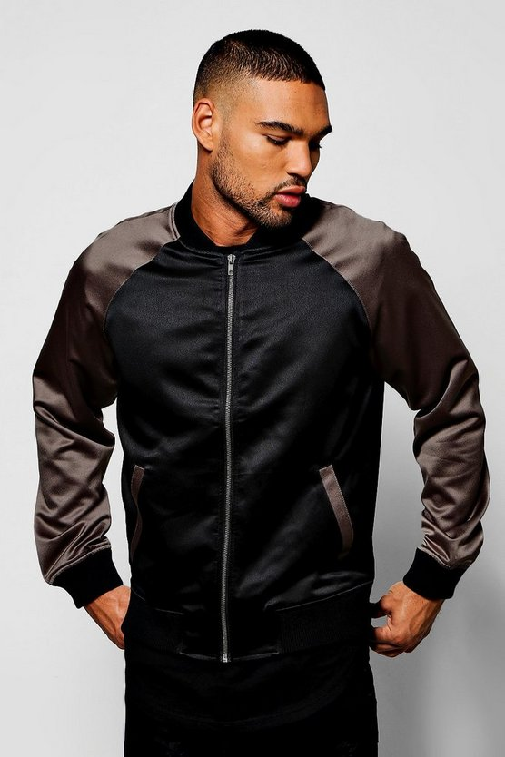 Black Satin Bomber Jacket with Contrast Raglan Sleeves