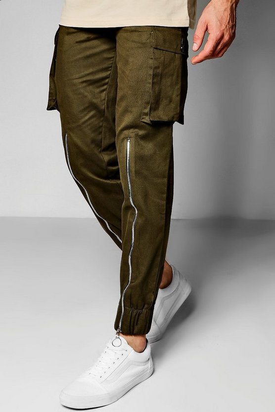 Skinny Fit Cargo Trouser With Half Zip Detail