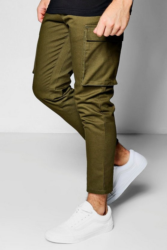 Cropped Slim Fit Cargo Trouser