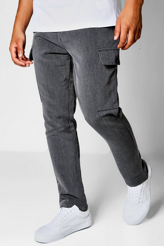Charcoal Cargo Formal Trousers