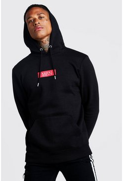 MAN Red Box Print Over The Head Hoodie, Black, Uomo