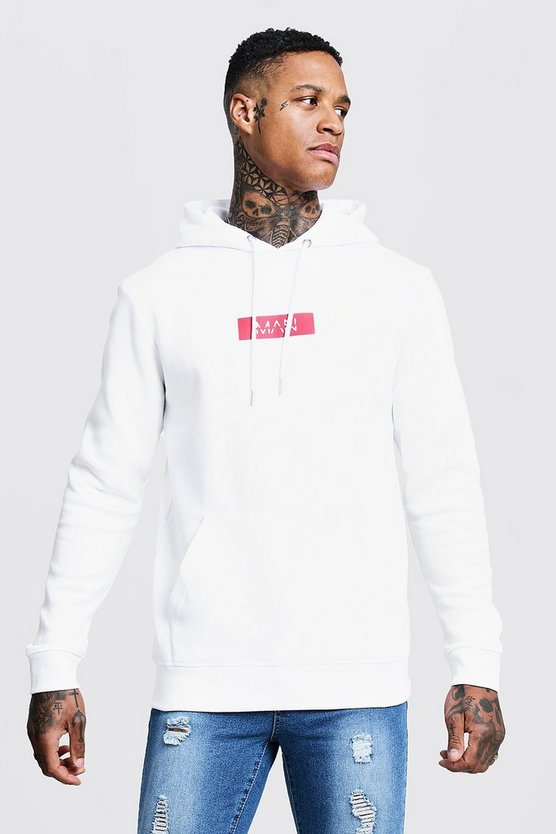 Mens White MAN Red Box Print Over The Head Hoodie
