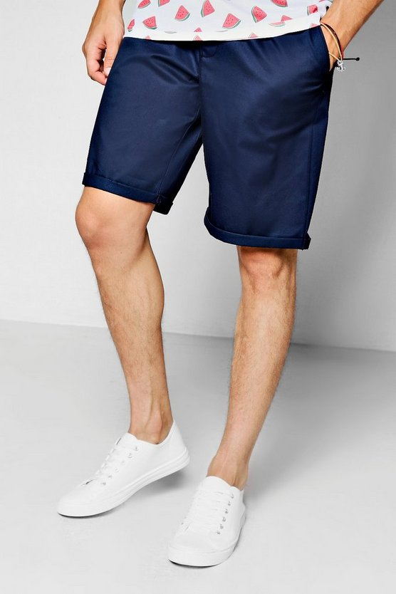 Mens Navy Slim Fit Cotton Chino Short