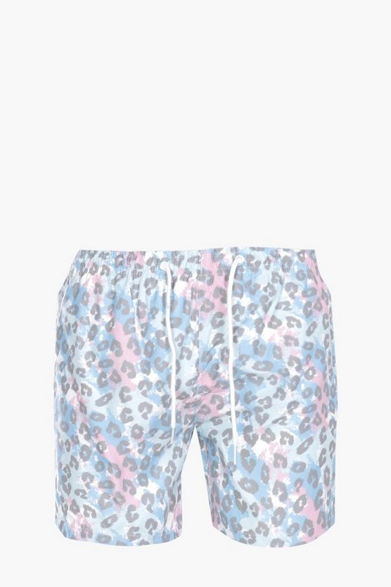 Leopard Print Mid Length Swim Short