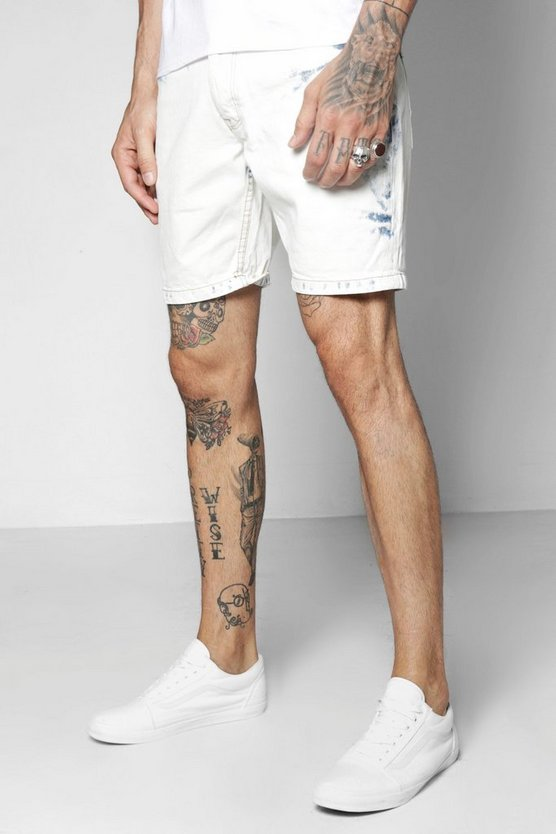 Bleach Wash Denim Shorts In Skinny Fit