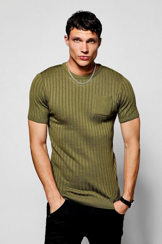 Short Sleeve Knitted Crew Neck T-Shirt