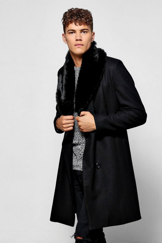 Black Double Breasted Wool Mix Overcoat