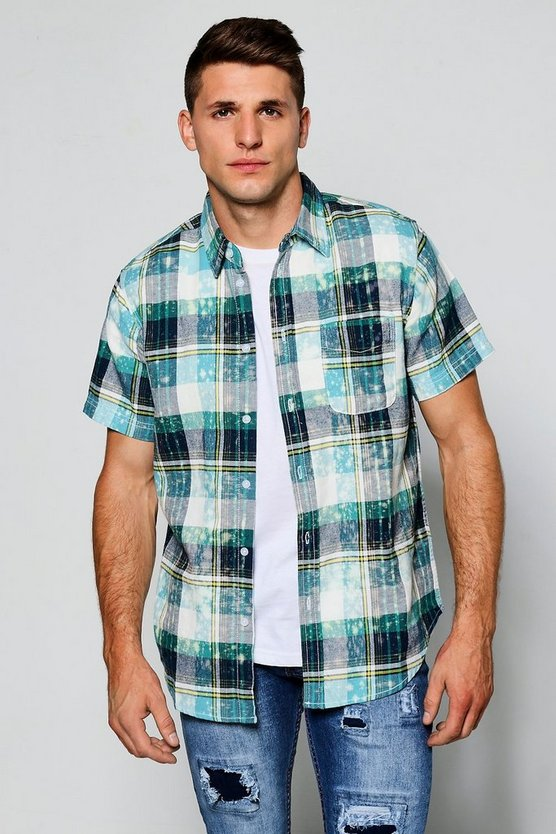 Short Sleeve Bleach Splatter Check Shirt