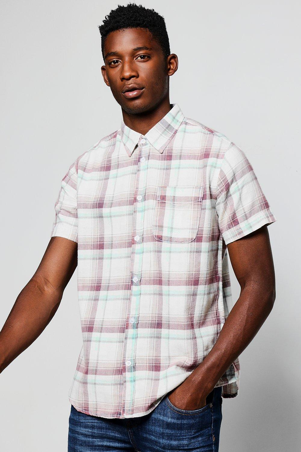 Short Sleeve Acid Wash Check Shirt