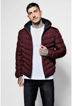 Burgundy Quilted Zip Through Jacket With Hood