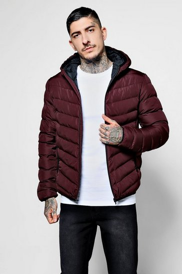Mens Burgundy Quilted Zip Through Jacket With Hood