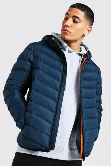 Navy Quilted Zip Through Jacket With Hood
