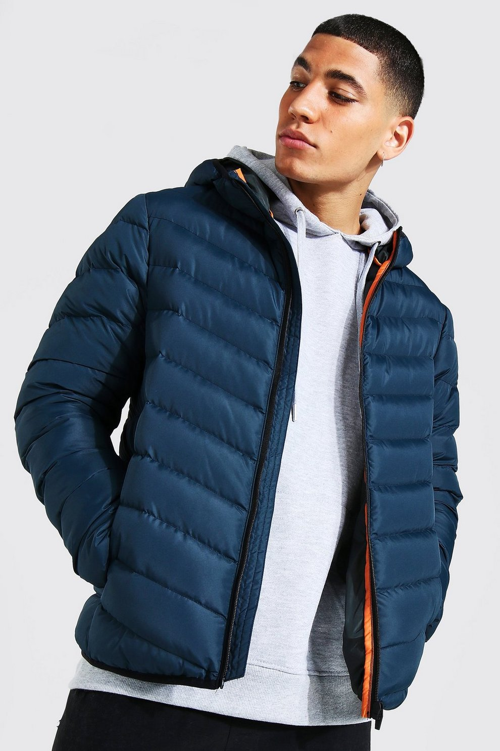 Quilted Zip Through Jacket With Hood Boohooman