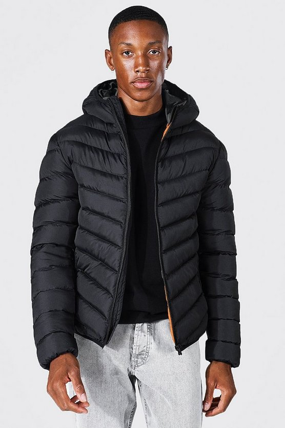 Black Quilted Zip Through Jacket With Hood