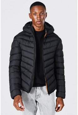 Mens Black Quilted Zip Through Jacket With Hood