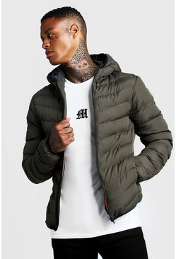 Quilted Zip Through Jacket With Hood, Khaki, Uomo