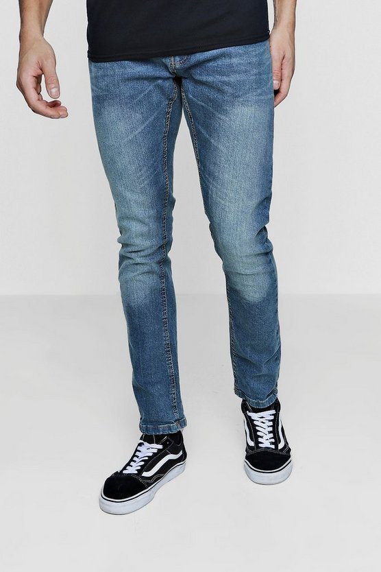 Slim Fit Washed Blue Jeans With Sandblasting