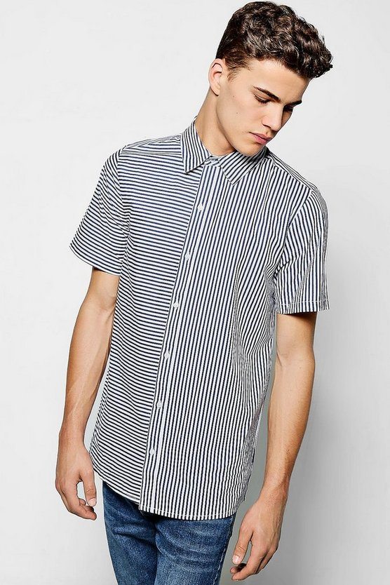 Contrast Stripe Short Sleeve Shirt