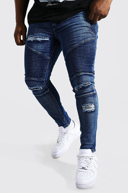 Big And Tall Blue Skinny Fit Ripped Biker Jeans | boohoo