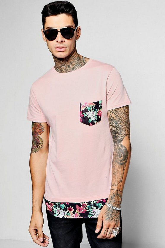 Skater Length T-Shirt With Tropical Print