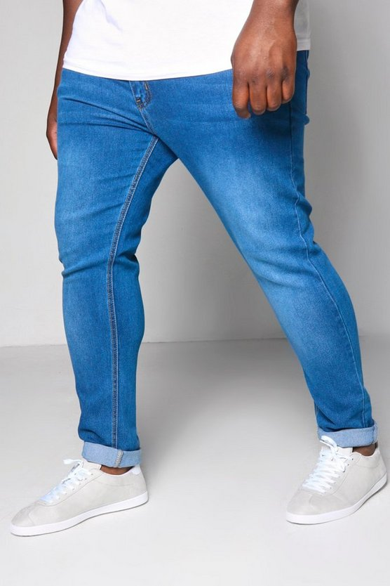 Big And Tall Blue Skinny Fit Washed Jeans