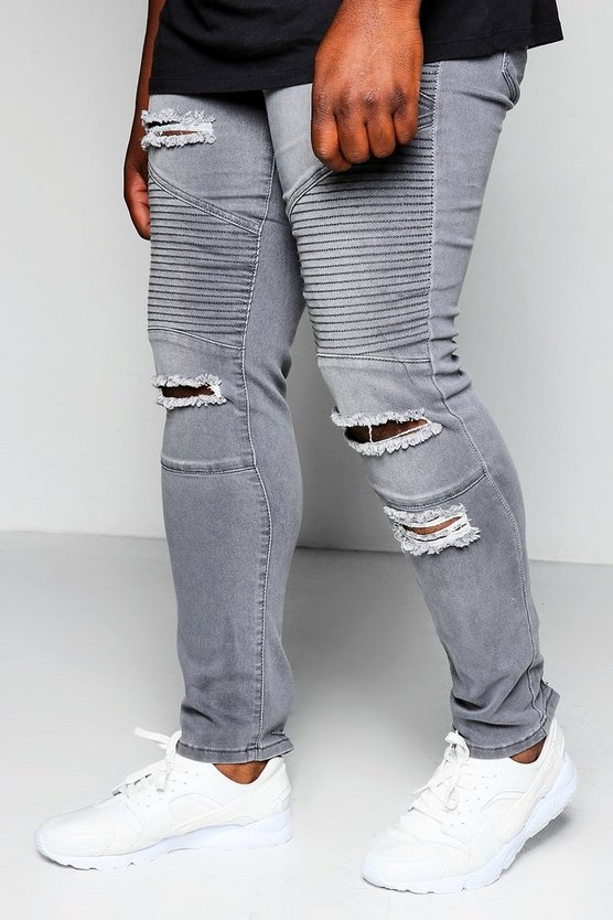 Big And Tall Grey Skinny Fit Ripped Biker Jeans