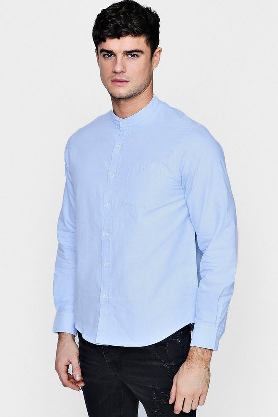 Long Sleeve Grandad Collar Oxford Shirt