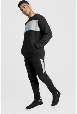 Mens Black Skinny Fit Contrast Chest Panel Tracksuit