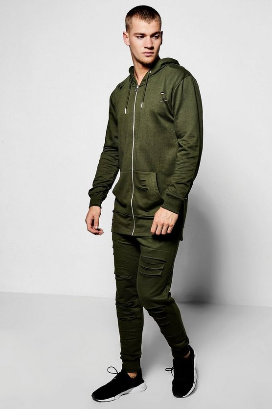 Longline Distressed Hooded Tracksuit