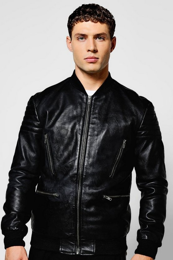 Black Real Leather Jacket with Bomber Neck