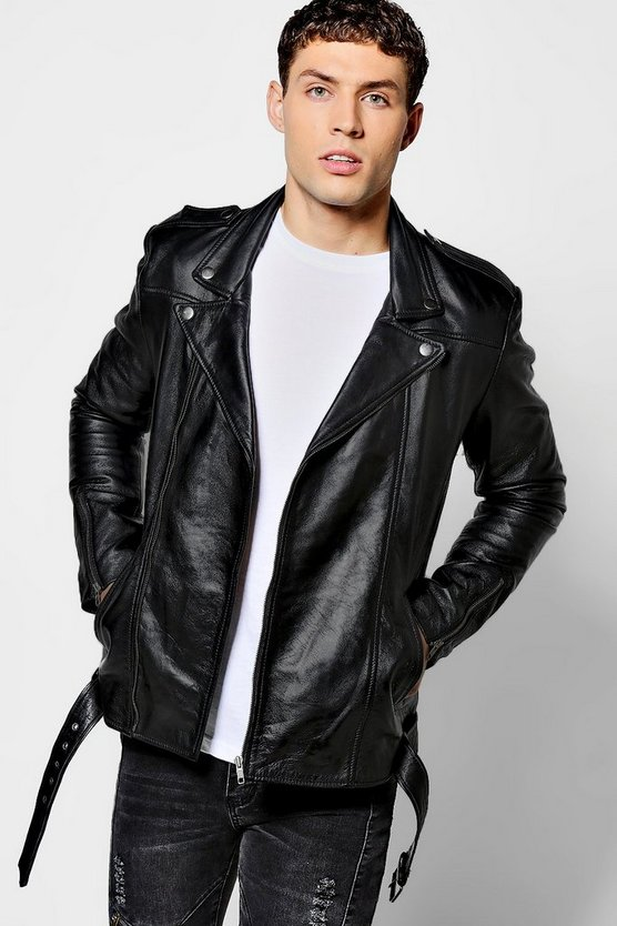Mens Black Real Leather Biker Jacket