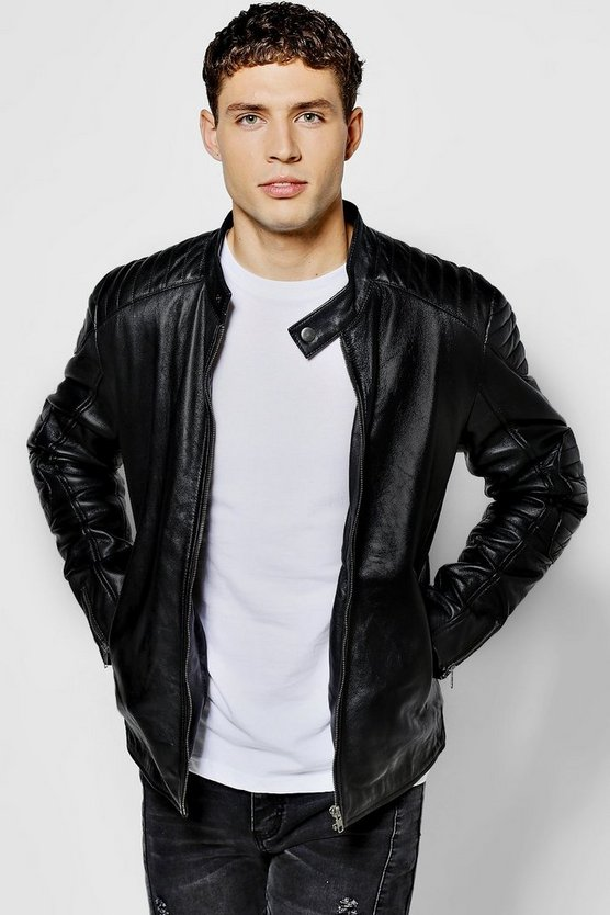 Black Real Leather Collarless Biker Jacket
