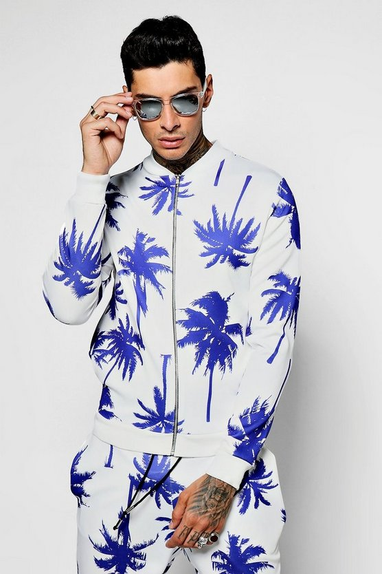 Mens Purple Large Palm Print Scuba Bomber Jacket