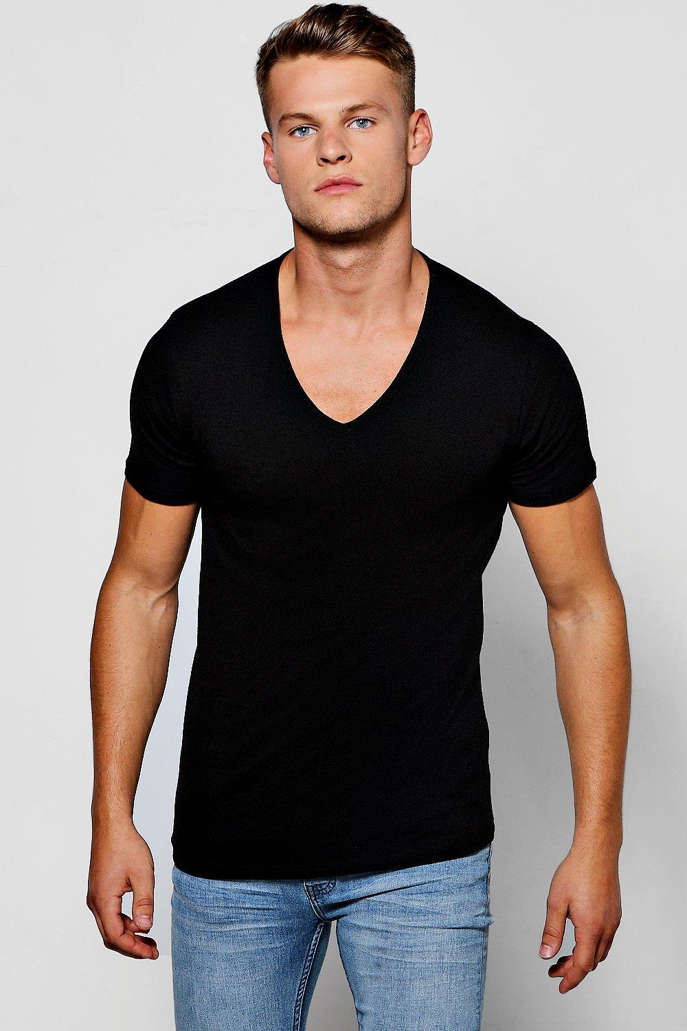 59e2351e3fcd Mens Black Muscle Fit V-Neck T-Shirt. Hover to zoom