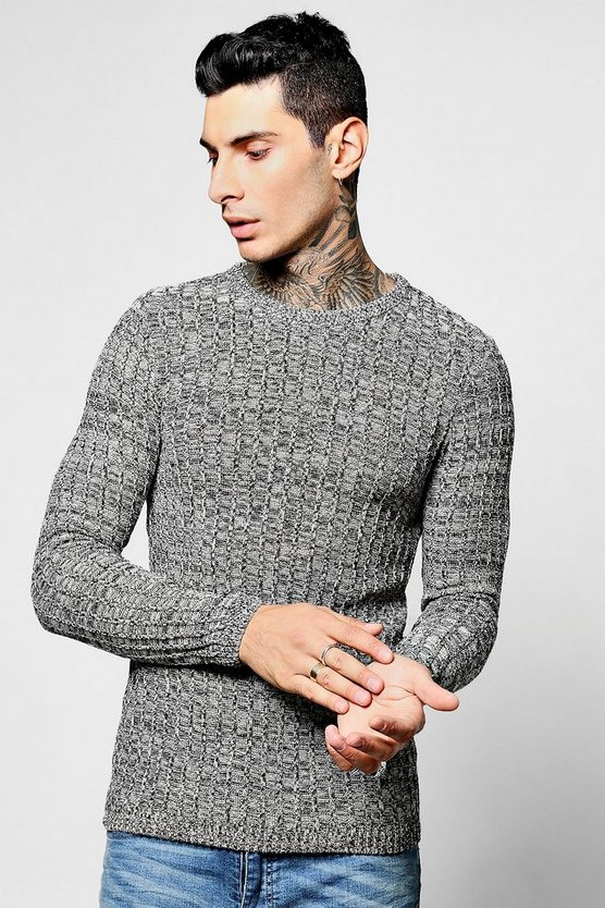 Block Crew Neck Twisted Knit Jumper
