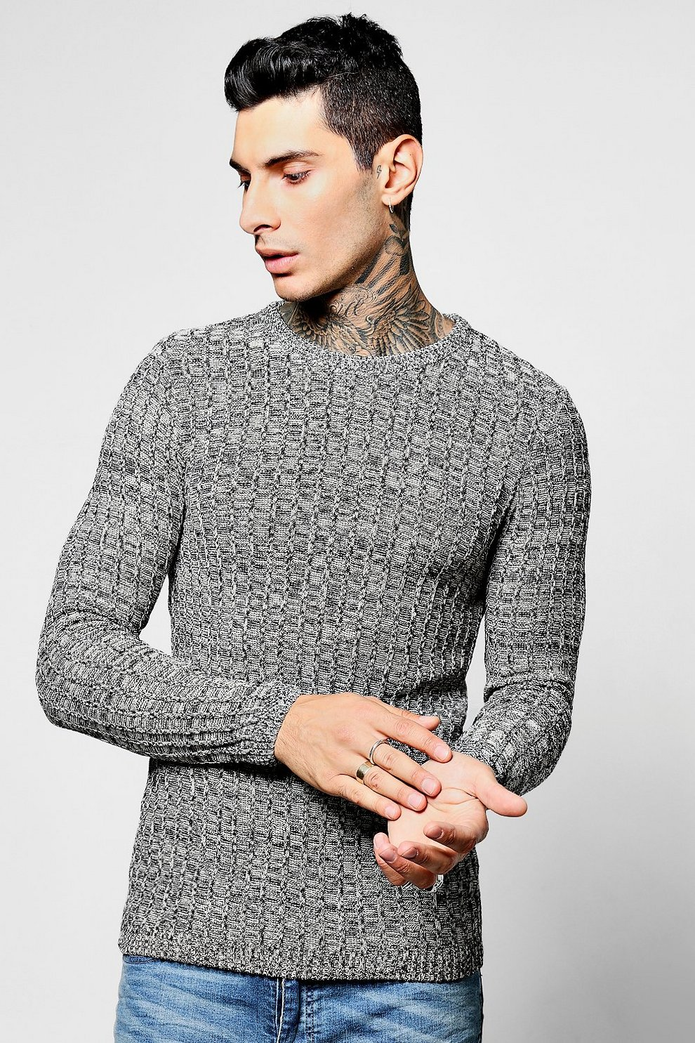 ac725718ef6a12 Block Crew Neck Twisted Knit Jumper | Boohoo