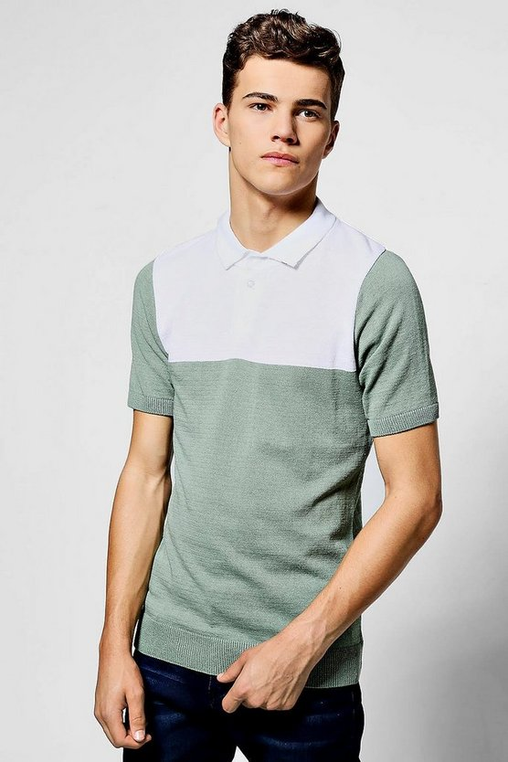 Short Sleeve Knitted Polo With Contrast Yoke
