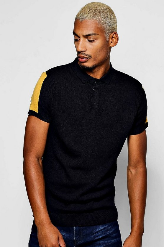 Short Sleeve Contrast Knit Polo